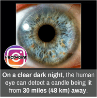 Follow our page for more Facts 😇 Don't forget to tag your friends 💖: Fact Point  On a clear dark night, the human  eye can detect a candle being lit  from 30 miles (48 km) away. Follow our page for more Facts 😇 Don't forget to tag your friends 💖
