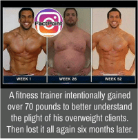 Facts, Friends, and Memes: Fact Point  WEEK 1  WEEK 26  WEEK 52  A fitness trainer intentionally gained  over 70 pounds to better understand  the plight of his overweight clients.  Then lost it all again six months later. Follow our page for more Facts 😇 Don't forget to tag your friends 💖