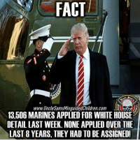 Applie: FACT  www.UncleSamsMisguidedChildren. Com  13506 MARINES APPLIED FOR WHITE HOUSE  DETAILLAST WEEK. NONE APPLIED OVER THE  LAST 8 YEARS, THEY HAD TO BE ASSIGNED!