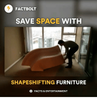 Memes, Furniture, and Space: FACTBOLT  SAVE SPACE WITH  SHAPESHIFTING FURNITURE  0 FACTS & ENTERTAINMENT 😱 Tag friends! ❤️ Follow @FactBolt (me) for more! — Source: Expand Furniture — fact factbolt video