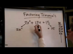 REBLOG TO SAVE A LIFE! This is how to factor quadratic  [trinomials] when 'a' is greater than 1 using  VERY less complicated than usual method. My friend who is a super super math whizz and very good at explaining math wasn't even aware of this method- and was impressed. Good luck on finals!  3  : Factoring Trinariss  2x* REBLOG TO SAVE A LIFE! This is how to factor quadratic  [trinomials] when 'a' is greater than 1 using  VERY less complicated than usual method. My friend who is a super super math whizz and very good at explaining math wasn't even aware of this method- and was impressed. Good luck on finals!  3