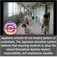 Memes, Japanese, and 🤖: FactPainE  Japanese schools do not employ janitors or  custodians. The Japanese education system  believes that requiring students to clean the  school themselves teaches respect  responsibility, and emphasizes equality. did you know fact point , education amazing dyk unknown facts daily facts💯 didyouknow follow follow4follow f4f factpoint instafact awesome world worldfacts like like4ike tag friends Don't forget to tag your friends 🤘
