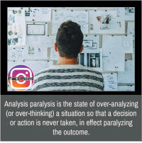 Over Analyzing: Factpoinb  Analysis paralysis is the state of over-analyzing  (or over-thinking) a situation so that a decision  or action is never taken, in effect paralyzing  the outcome.