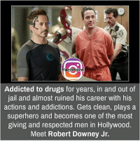 Are you a 'Iron Man' fan? 🤖 did you know fact point , education amazing dyk unknown facts daily facts💯 didyouknow follow follow4follow earth science commonsense f4f factpoint instafact awesome world worldfacts like like4ike tag friends Don't forget to tag your friends 👍: FactPoint  Addicted to drugs for years, in and out of  jail and almost ruined his career with his  actions and addictions. Gets clean, plays a  superhero and becomes one of the most  giving and respected men in Hollywood.  Meet Robert Downey Jr. Are you a 'Iron Man' fan? 🤖 did you know fact point , education amazing dyk unknown facts daily facts💯 didyouknow follow follow4follow earth science commonsense f4f factpoint instafact awesome world worldfacts like like4ike tag friends Don't forget to tag your friends 👍