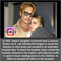 did you know fact point , education amazing dyk unknown facts daily facts💯 didyouknow follow follow4follow f4f factpoint instafact awesome world worldfacts like like4ike tag friends Don't forget to tag your friends 🤘: FactPoint  In 2007, Depp's daughter recovered from a serious  illness, an E. coli infection that began to cause her  kidneys to shut down and resulted in an extended  hospital stay. To thank the Hospital, Depp visited the  hospital, dressed in his Captain Jack Sparrow outfit,  spent 4 hours reading stories to the children. In  2008, he donated $2 million to the hospital. did you know fact point , education amazing dyk unknown facts daily facts💯 didyouknow follow follow4follow f4f factpoint instafact awesome world worldfacts like like4ike tag friends Don't forget to tag your friends 🤘