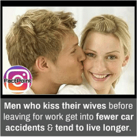 Facts, Friends, and Memes: FactPoint  Men who kiss their wives before  leaving for work get into fewer car  & tend to live longer.  accidents All husbands there,Start kissing wives 😜 did you know fact point , education amazing dyk unknown facts daily facts💯 didyouknow follow follow4follow earth science commonsense f4f factpoint instafact awesome world worldfacts like like4ike tag friends Don't forget to tag your friends 👍
