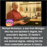 credentials: FactPoint  Michael Nicholson, a man from Michigan  who has one bachelor's degree, two  associate's degrees, 22 master's  degrees, three specialist degrees and  one doctoral degree, making him the  most credentialed person in history.