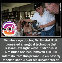 did you know fact point , education amazing dyk unknown facts daily facts💯 didyouknow follow follow4follow f4f factpoint instafact awesome world worldfacts like like4ike tag friends Don't forget to tag your friends 🤘: FactPoint  Nepalese eye doctor, Dr. Sanduk Ruit,  pioneered a surgical technique that  restores eyesight without stitches in  5 minutes and has removed 100,000  cataracts from this procedure on poverty  stricken people over his 30 year career. did you know fact point , education amazing dyk unknown facts daily facts💯 didyouknow follow follow4follow f4f factpoint instafact awesome world worldfacts like like4ike tag friends Don't forget to tag your friends 🤘