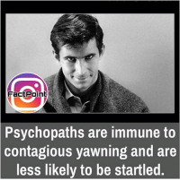 Memes, Contagious, and 🤖: FactPoint  Psychopaths are immune to  contagious yawning and are  less likely to be startled did you know fact point , education amazing dyk unknown facts daily facts💯 didyouknow follow follow4follow f4f factpoint instafact awesome world worldfacts like like4ike tag friends Don't forget to tag your friends 🤘