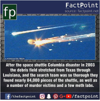 Facts, Friends, and Memes: FactPoint  source: factpoint.net  ASSOCIATED PRESS  After the space shuttle Columbia disaster in 2003  the debris field stretched from Texas through  Louisiana, and the search team was so thorough they  found nearly 84,000 pieces of the shuttle, as well as  a number of murder victims and a few meth labs. Fact sources mentioned at www.FactPoint.net- did you know fact point , education amazing dyk unknown facts daily facts💯 didyouknow follow follow4follow earth science commonsense f4f factpoint instafact awesome world worldfacts like like4ike tag friends Don't forget to tag your friends 👍