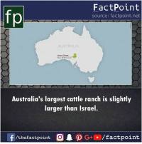 Anna, Memes, and Australia: FactPoint  source: factpoint.net  fp  AUSTRALIA  Anna Creek  Area: 23.077 s m  Australia's largest cattle ranch is slightly  arger fhan israel.  /the factpoint  /factpoint