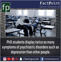 Take care 😯: FactPoint  source: factpoint.net  hD students display twice as many  symptoms of psychiatric disorders such as  depression than other people.  G4/factpo  int F/thefactpoint Take care 😯