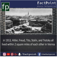 Did you know that 😶: FactPoint  source: factpoint.net  in 1913, Hitler, Freud, Tito, Stalin, and Trotsky all  lived within 2 square miles of each other in Vienna Did you know that 😶