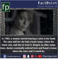 Head, Memes, and The Voice: FactPoint  source: factpoint.net  In 1984, a woman started hearing a voice in her head.  The voice told her she had a brain tumor, where the  tumor was, and how to treat it. Despite no other symp-  toms, doctors eventually ordered tests and found a tumor  where the voice said it would be.  f/thefactpoint O . ρ G+D /factpoint