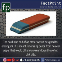 Now I know this 🎴: FactPoint  source: factpoint.net  The hard blue end of an eraser wasn't designed for  erasing ink. It is meant for erasing pencil from heavier  paper that would otherwise wear down the softer,  pink side. Now I know this 🎴