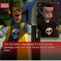 Facts, Memes, and Movies: FACTS  2  17  Sid returned in Toy Story 3 (2010) as the  garbage man, and was voiced by the same  actor. Please follow our sister account @moviefacts for interesting facts about movies. Also, movie reviews will be released on the IGTV channel on there very soon. They'll be a little different. Comment below. 👇🏻 -- Must Follow 🍿 - @MovieFacts 🍿 - @MovieFacts 🍿 - @MovieFacts 🍿 - @MovieFacts