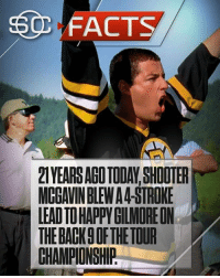 Also, if you watch the final round, notice the bug is already crashed into the tower before title happens in the film.....  The rook: FACTS  2TYEARS AGO TODAY, SHOOTER  MCGAVIN BLEW A4-STROKE  LEAD TO HAPPVGILMOREON  THE BACK9 OF THE TOUR  CHAMPIONSHIP Also, if you watch the final round, notice the bug is already crashed into the tower before title happens in the film.....  The rook
