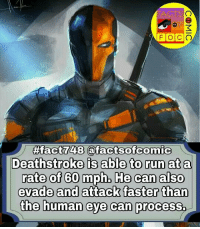 dccomics dcuniverse dccinematicuniverse dcentertainment dcjusticeleague justiceleague dcvillains facts factsofcomic factsofcomics like4like commentforcomment comics deathstroke batman sladewilson dcfacts: FACTS  41  FOCO  48  Deathstroke is able to run ata  rate of 60 mph, He can also  evade and attack faster than  the human eye can process. dccomics dcuniverse dccinematicuniverse dcentertainment dcjusticeleague justiceleague dcvillains facts factsofcomic factsofcomics like4like commentforcomment comics deathstroke batman sladewilson dcfacts