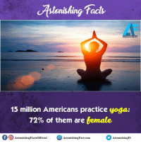 Did you know? rvcjinsta: facts  ASTONISHING FACTS  15 million Americans practice yoga:  72% of them are  temate.  of O Astonishing Factsofficial  Astonishin Fact-com  AstonishingFt Did you know? rvcjinsta