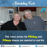 Did you know? rvcjinsta: facts  ASTONISHING FACTS  The voice actors for Mickey and  Minnie Mouse are married in real life  f O AstonishingFactsOfficial  Aston hingFact.com.  Astonishing  is Did you know? rvcjinsta