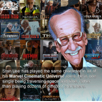 *SWIPE LEFT & SHARE* (Please credit) Now I know a lot of you would have known this, but obviously some people don't. Plus there is a rumour going around that Stan Lee could be de-aged in Captain Marvel. It wouldn't make any sense. ••• Turn on notifications + Follow: 🍿 - @MovieFacts 🤓 - @GeekFacts 🤔 - @GeekQuote: FACTS  AT A IN AMERICA  E R  ARDIANS  THE DARK  LI  ANTMAN  Stan Lee has played the same character in all of  his Marvel Cinematic Universe roles. He is one  single being traversing space and time, rather  than playing dozens,of different characters  SPIDER-MAN  MARVEL *SWIPE LEFT & SHARE* (Please credit) Now I know a lot of you would have known this, but obviously some people don't. Plus there is a rumour going around that Stan Lee could be de-aged in Captain Marvel. It wouldn't make any sense. ••• Turn on notifications + Follow: 🍿 - @MovieFacts 🤓 - @GeekFacts 🤔 - @GeekQuote