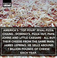 "Facts, Little Caesars, and Memes: FACTS  BIBLE  AMERICA'S ""TOP FOUR"" RIVAL PIZZA  CHAINS - DOMINO'S, PIZZA HUT, PAPA  JOHNS AND LITTLE CAESARS ALL BUY  THEIR CHEESE FROM THE SAME MAN:  JAMES LEPRINO. HE SELLS AROUND  1 BILLION POUNDS OF CHEESE  EACH YEAR. James Leprino is an American billionaire businessman, and the world's largest manufacturer of mozzarella cheese."