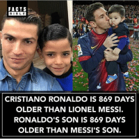 Everyone follow @factsbible for the best facts on Instagram: FACTS  BIBLE  BIBL E  CRISTIANO RONALDO IS 869 DAYS  OLDER THAN LIONEL MESSI.  RONALDO'S SON IS 869 DAYS  OLDER THAN MESSI'S SON. Everyone follow @factsbible for the best facts on Instagram