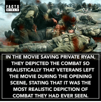 Follow our other account @factsbible for more 😱: FACTS  BIBLE  BIBL E  IN THE MOVIE SAVING PRIVATE RYAN,  THEY DEPICTED THE COMBAT SO  REALISTICALLY THAT VETERANS LEFT  THE MOVIE DURING THE OPENING  SCENE, STATING THAT IT WAS THE  MOST REALISTIC DEPICTION OF  COMBAT THEY HAD EVER SEEN. Follow our other account @factsbible for more 😱