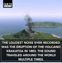 Facts, Memes, and Bible: FACTS  BIBLE  THE LOUDEST NOISE EVER RECORDED  WAS THE ERUPTION OF THE VOLCANO  KRAKATOA IN 1883. THE SOUND  TRAVELED AROUND THE WORLD  MULTIPLE TIMES. Tag someone to show them this fact