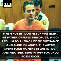 He has now been clean since 2003, and thanks Mel Gibson and his wife with helping him get sober and narcotic free. Since then, between June 2013 and June 2014, he earned roughly $75 Million.: FACTS  BIBLE  WHEN ROBERT DOWNEY JR WAS EIGHT.  HIS FATHER OFFERED HIM DRUGS, WHICH  LED HIM TO A LONG LIFE OF SUBSTANCE  AND ALCOHOL ABUSE. THE ACTOR  SPENT FOUR MONTHS IN JAIL IN 1997  AND ANOTHER YEAR IN 1999 FOR DRUG  POSSESSION He has now been clean since 2003, and thanks Mel Gibson and his wife with helping him get sober and narcotic free. Since then, between June 2013 and June 2014, he earned roughly $75 Million.