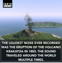 Facts, Memes, and Best: FACTS  BLE  THE LOUDEST NOISE EVER RECORDED  WAS THE ERUPTION OF THE VOLCANO  KRAKATOA IN 1883. THE SOUND  TRAVELED AROUND THE WORLD  MULTIPLE TIMES. @factsbible is the best facts page on insta!