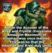 Facts, Memes, and Avengers: FACTS  CE MIC  Ronan the Accuser of the  Kree and crystal (Corystalia  Amaqulin Maximoff of  Inhuman was once married.  This was so that the  Inhuman and Kree may unite. marvelousfacts marvelentertainment marvel marvelstudios marvelcinematicuniverse marveluniverse avengers inhuman kree ronan crystal like4like commentforcomment facts factsofcomics factsofcomic