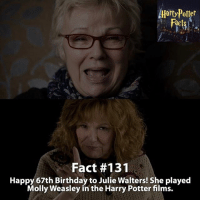 Birthday, Dumbledore, and Facts: Facts  Fact #131  Happy 67th Birthday to Julie Walters! She played  Molly Weasley in the Harry Potter fims. Happy Birthday! - harrypotter harrypotterworld harrypotterfandom harrypotterforever harrypotterandthecursedchild jkrowling dumbledore quidditch snape severussnape hogwarts gryffindor slytherin hufflepuff ravenclaw hagrid dobby ronweasley emmawatson danielradcliffe voldemort tomfelton dracomalfoy siriusblack robinwilliams hagrid