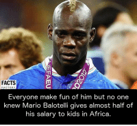 Balotelli: FACTS  FACTORY  Everyone make fun of him but no one  knew Mario Balotelli gives almost half of  his salary to kids in Africa.