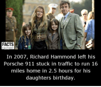 Memes, Porsche, and Richard Hammond: FACTS  FACTORY  In 2007, Richard Hammond left his  Porsche 911 stuck in traffic to run 16  miles home in 2.5 hours for his  daughters birthday