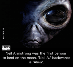Facts, Neil Armstrong, and Alien: FACTS  FACTORY  Neil Armstrong was the first person  to land on the moon. 'Neil A.' backwards  is 'Alien Mind = blown