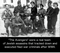 "Memes, The Avengers, and 🤖: FACTS  FACTORY  ""The Avengers"" were a real team  of Jewish assassins that tracked down and  executed Nazi war criminals after WWII."