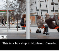 Memes, Canada, and 🤖: FACTS  FACTORY  This is a bus stop in Montreal, Canada.