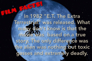 "Facts, True, and Alien: FACTS!  FILM  In 1982 ""E.T. The Extra  Terrestrial"" was released What  many don't know is that the  eas based on, a true  story. The only difference was  the alien was nothing but toxic  gasses and extremely deadly"