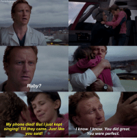 Abc, Memes, and 🤖: Facts forgre  Ruby?  My phone died! But I just kept  singing! Till they came. Just like  know. I know. You did great.  you said!  You were perfect. Someone please give this man a kid! — factsforgreys_kevin greys greysanatomy kevinmckidd owenhunt omelia crowen ruby shondaland abc ga tgit like facts like4like likeforlike dancemoms