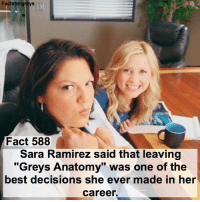 "Fact 588😱 Sara Ramirez said that leaving ""Grey's Anatomy"" was one of the best decisions she ever made in her career. — factsforgreys_sara greys greysanatomy sararamirez callietorres calliopetorres calzona shondaland abc ga tgit like facts like4like likeforlike dancemoms: Facts forgreys  Fact 588  Sara Ramirez said that leaving  ""Greys Anatomy"" was one of the  best decisions she ever made in her  Career. Fact 588😱 Sara Ramirez said that leaving ""Grey's Anatomy"" was one of the best decisions she ever made in her career. — factsforgreys_sara greys greysanatomy sararamirez callietorres calliopetorres calzona shondaland abc ga tgit like facts like4like likeforlike dancemoms"