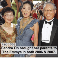 Abc, Facts, and Memes: Facts forgreys  Fact 668  Sandra Oh brought her parents to  The Emmys in both 2006 & 2007. Fact 668😱 Sandra Oh brought her parents to The Emmys in both 2006 & 2007. — factsforgreys_sandra greys greysanatomy sandraoh cristinayang crowen burktina shondaland abc ga tgit like facts theemmys like4like likeforlike dancemoms