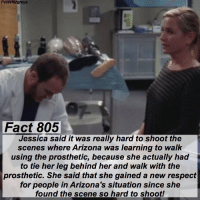Abc, Facts, and Memes: Facts forgreys  Fact 805  Jessica said it was really hard to shoot the  scenes where Arizona was learning to walk  using the prosthetic, because she actually had  to tie her leg behind her and walk with the  prosthetic. She said that she gained a new respect  for people in Arizona's situation since she  found the scene so hard to shoot! Fact 805😱 Jessica said it was really hard to shoot the scenes where Arizona was learning to walk using the prosthetic, because she actually had to tie her leg behind her and walk with the prosthetic. She said that she gained a new respect for people in Arizona's situation since she found the scene so hard to shoot! — factsforgreys_jessica greys greysanatomy jessicacapshaw jessicacapshawgavigan jcap jcg arizonarobbins ariliza calzona amputee amputation disabled disability prosthetic shondaland abc ga tgit like facts likeforlike like4like dancemoms