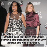 Abc, Facts, and Memes: Facts forgreys  tainment  Fact 813  Shonda said that Ellen has more  stamina and determination than any  human she has ever seen.  OTA Fact 813😱 Shonda said that Ellen has more stamina and determination than any human she has ever seen. — factsforgreys_shonda factsforgreys_ellen greys greysanatomy ellenpompeo shondarhimes meredithgrey merder dempeo shondaland abc ga tgit like facts likeforlike like4like dancemoms