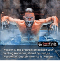 If you follow the movie canon that would imply Deadpool is a weapon. -👀 Q: What number is he? -💪 -Follow @deadpoolfacts for your daily Deadpool dose. -💪 @vancityreynolds 🙌 wadewilson mercwithamouth marvelnation deadpoolfacts deadpoolnation deadpool marvel deadpool2 antihero lolz lmaobruh hahaha lmfao heh hehe MarvelousJokes: Facts  Geek  geekfeed.com  'Weapon X' the program associated with  creating Wolverine, should be read as  'Weapon 10. Captain America is 'Weapon 1' If you follow the movie canon that would imply Deadpool is a weapon. -👀 Q: What number is he? -💪 -Follow @deadpoolfacts for your daily Deadpool dose. -💪 @vancityreynolds 🙌 wadewilson mercwithamouth marvelnation deadpoolfacts deadpoolnation deadpool marvel deadpool2 antihero lolz lmaobruh hahaha lmfao heh hehe MarvelousJokes