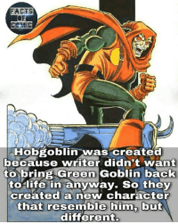 marvelousfacts marvelentertainment marvel marvelstudios marvelcinematicuniverse marvelcomics avengers spiderman hobgoblin like4like commentforcomment facts factsofcomics factsofcomic comicfacts: FACTS  Hobgoblin  was created  because writer didn't want  to bring Green Goblin back  to life in anyway. So they  created a new character  that resemble him, but  different. marvelousfacts marvelentertainment marvel marvelstudios marvelcinematicuniverse marvelcomics avengers spiderman hobgoblin like4like commentforcomment facts factsofcomics factsofcomic comicfacts