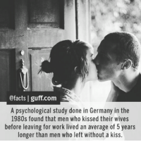 Dank, 🤖, and Working: @facts I guff com  A psychological study done in Germany in the  1980s found that men who kissed their wives  before leaving for work lived an average of 5 years  longer than men who left without a kiss. Pucker up.