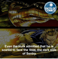 The Hulk Fact! factsofcomics: FACTS OF  MI  Even the Hulk admitted that he is  scared to face the Void, the dark side  of Sentry The Hulk Fact! factsofcomics