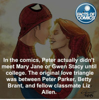 College, Facts, and Love: FACTS OF  MI  In the comics, Peter actually didn't  meet Mary Jane or Gwen Stacy until  college. The original love triangle  was between Peter Parker, Betty  Brant, and fellow classmate Liz  Allen. Who is your favorite girlfriend-love interest that Spider-Man has had?! factsofcomics