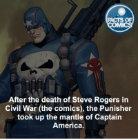 America, Facts, and Memes: FACTS OF  MMI  After the death of Steve Rogers in  Civil War (the comics), the Punisher  took up the mantle of Captain  America. The Punisher Fact! FactsOfComics